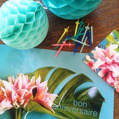 boules de papier, bougies et photos végétales pour un annniversaire - Sophie Plouvier