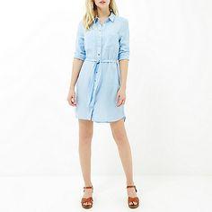 Light wash denim lightweight shirt dress