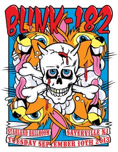 """Frank Kozik  Blink-182 Starland Ballroom on sale Tuesday, 9/10/2013 @ 2 pm pacific: http://www.frankkozik.net/store 6 color silkscreen poster  size: 18"""" x 24""""  140 lb archival paper  signed and numbered by Kozik edition of 50-not a variant, same as print..."""