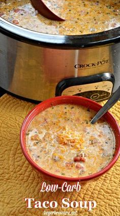 Whether you are eating low-carb, gluten-free, or a keto diet, this crock pot low-carb taco soup is sure to leave all loving it regardless of if you are on a diet or not. Low Carb Tacos, Low Carb Taco Soup, Keto Taco, Low Carb Diet, Keto Soup, Paleo Diet, Diet Foods, Diet Meals, Low Carb Soups