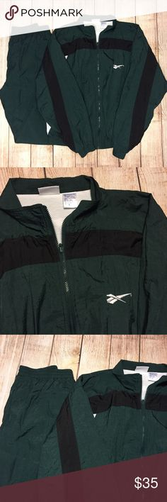 Vintage 90's Reebok Tracksuit Basically new Reebok Tracksuit. Picked up a few years back and have just been sitting on it. Immaculate used vintage condition. Size L and come with both the pants and jacket! Reebok Jackets & Coats Windbreakers