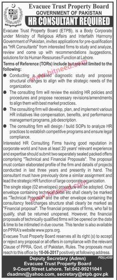 evacuee trust property board etpb government of pakistan hr consultant job - Product Consultant Jobs