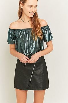 Sparkle and Fade Liquid Glitter Off-The-Shoulder Top