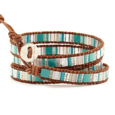 Chan Luu - Turquoise Mix Triple Wrap Bracelet on Natural Brown Leather, $115.00 (http://www.chanluu.com/wrap-bracelets/turquoise-mix-triple-wrap-bracelet-on-natural-brown-leather/)