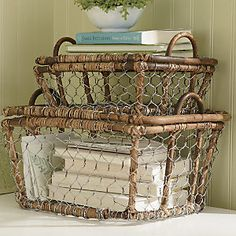 Natural willow branch frames have bamboo-wrapped supports and wire mesh sides.