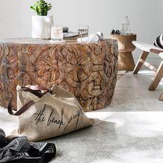 meble loftowe | okrągły rzeźbiony stolik Himalaya