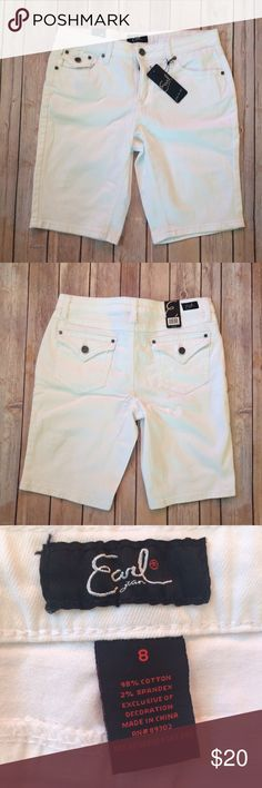 "Earl Jean Bermuda Shorts White Bermuda shorts. Has 5 pockets. Contains 2% spandex so they're a little flexible. Measures 30.5"" around the waist and the inseam measures 10.25"". New with tags. Earl Jeans Shorts Bermudas"