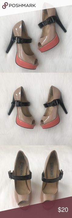 Steve Madden Tan/Black/Peach Buckle Strap Heels Steve Madden Tan/Black/Peach Buckle Strap High Heel Shoes. In good used condition.  Women's Size 8.5 Steve Madden Shoes Heels