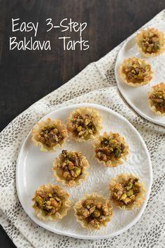 Easy 3-Step Baklava Tarts - All the flavor of baklava, in bite-sized tarts that take just minutes to make! | foxeslovelemons.com