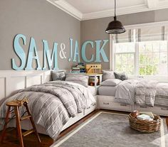 Love the large letters and the board & batton. A thought for little boys room.