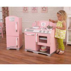 Costco: KidKraft 2-piece Pink Retro Kitchen looks like pottery barn kids kitchen but half the price; YES PLEASE! !!!