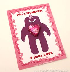 cute and minimal candy Man Crafts, Creative Box, Love You, My Love, Cute Cards, Monsters, Party Themes, Valentines Day, Celebration