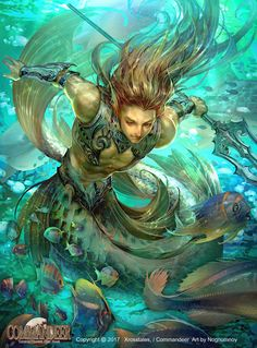 (Not my art) ArtStation - mermaid man, - Nognumnoy Fantasy Warrior, Fantasy Art, Fantasy Creatures, Mythical Creatures, Sea Creatures, Fantasy Mermaids, Mermaids And Mermen, Mermaid Boy, Character Art