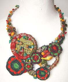 """Tota reciclados"" (Marcela Muñiz & Valeria Hasse) , Necklace, pieces of embroidery and knitted material, found textiles, acrylic paint, wire, old straw bags, found pieces and beads, aluminium - -   www.totareciclados.com.ar"