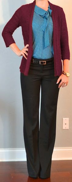 Outfit Posts: outfit post: teal tie blouse, burgundy cardigan, black editor pants