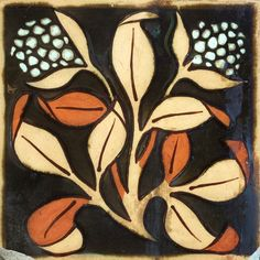 19th century Josiah Wedgwood & Sons Etruria tile with Arts & Crafts floral motif #wedgwood #artsandcrafts #artnouveau #floral #antiquetiles #etruria #19thcentury