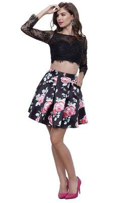 Nox Anabel - 6223 Two-Piece Lace Illusion Long Sleeve Cocktail Dress Plus Size Black Dresses, Plus Size Cocktail Dresses, Plus Size Party Dresses, Cocktail Dress Prom, Prom Dresses Two Piece, Prom Dresses With Sleeves, Two Piece Dress, Short Dresses, Lace Dresses