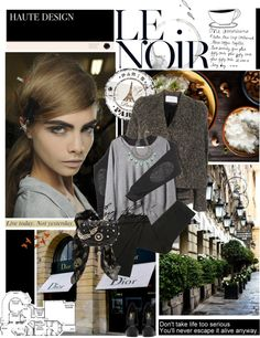 """""""Le noir."""" by teacafe ❤ liked on Polyvore"""