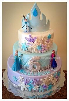 Disney Frozen Cake by Gimme-Suga' Elsa Birthday Cake, Frozen Themed Birthday Cake, Frozen Theme Party, Birthday Candy, Carnival Birthday, 5th Birthday, Birthday Parties, Pastel Frozen, Disney Frozen Cake