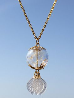 Make a wish Necklace Real Dandelion Seed Pendant от SweetyLifeShop