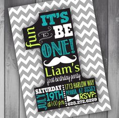 Baby Boy First Birthday Invitation Boy First Birthday Mustache Birthday 1st Birthday Printable Birthday Invitation Boy Birthday Party by CLaceyDesign on Etsy https://www.etsy.com/listing/193528574/baby-boy-first-birthday-invitation-boy