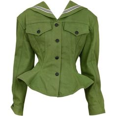 Preowned Gaultier Olive Sailor Corset Jacket ($1,050) ❤ liked on Polyvore featuring outerwear, jackets, tops, multiple, vintage jackets, sailor jacket, stripe jacket, lapel jacket and vintage green army jacket