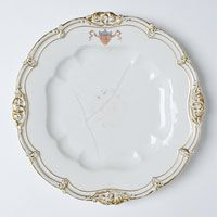 Dinner Plate/Made in Champroux, France, Europe 1846--Edouard D. Honoré, Champroux, France, 1824 - 1855--Hard paste porcelain, lead glaze, printed, enamel, and gilded decoration. 1 1/4 x 9 3/8 inches (3.2 x 23.8 cm)