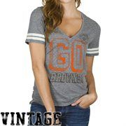 Cleveland Browns Ladies Tailgate V-Neck Tri-Blend T-Shirt - Ash