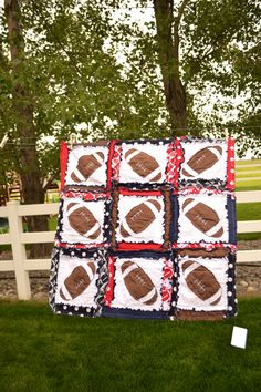 RAG QUILT, Red and Navy Blue Football, Ready to Ship