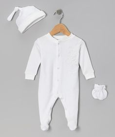 Another great find on #zulily! Tots Fifth Avenue White Footie Set by Tots Fifth Avenue #zulilyfinds