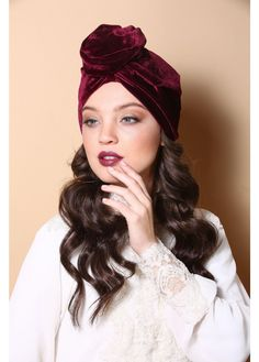 Flower style turban in wine colored velvet. The Turban is stretchy and light. Turban hats, TIchels, Fashion turbans, ready to wear turbans, head wraps, headband, head scarves