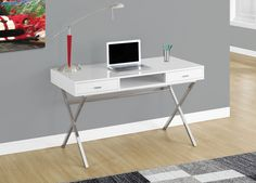 Glossy White Computer Desk w/ Chrome Metal - Monarch Specialties modern, high gloss desk is the ideal computer workstation for your home office. The stylish criss-cross silver metal legs provide study support while the white glossy finish a White Desk Office, White Desks, Home Office Desks, Home Office Furniture, Office Decor, Office Ideas, Corner Office, Office Inspo, Small Office
