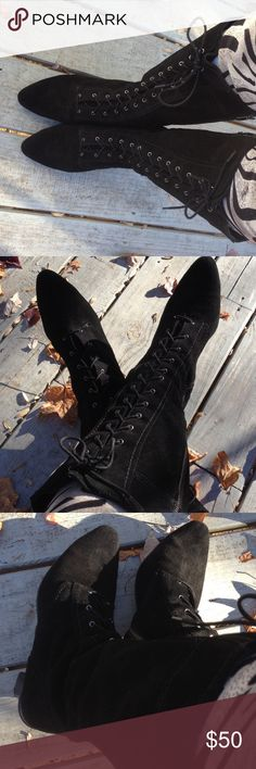 "Adrienne vittadini black lace up boots Super cute lace up boots with zip sides, black suede material in good condition 2.5"" heels Adrienne Vittadini Shoes Lace Up Boots"