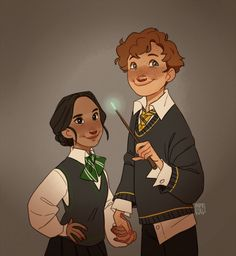"""inimeitiel: """"A very quick sketch of Newt Scamander and Leta Lestrange as young Hogwarts students. """" <<<<cuuuuuuute but i don't ship them Fanart Harry Potter, Mundo Harry Potter, Harry Potter Fandom, Harry Potter World, Dramione, Drarry, Young Newt, Newt Scamander Aesthetic, Hogwarts"""