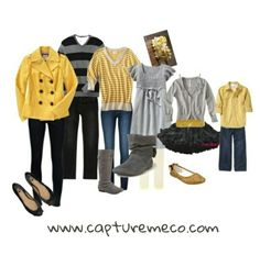 What to wear inspiration, Fall family portraits. Yellow. Grey. Black www.capturemeco.com