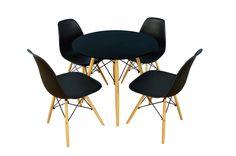 CZARNY Zestaw okrągły STÓŁ 80cm + 4 Krzesła Saglar