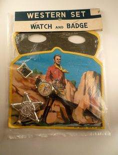 ~~Vintage 1950's Dimestore Cowboy Western Toy Set with Badge Mask and Watch MIP~~