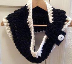Crochet Chunky Cowl Black and White Custom Order. $19.00, via Etsy.