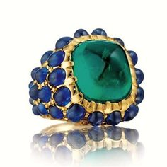 Rosamaria G Frangini | High Green Jewellery | Emerald and blue sapphires, ring by Verdura.
