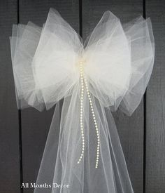 Ivory Tulle Bow with Pearls Wedding Bridal by AllMonthsDecor