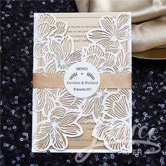 Exquisite Flower Laser Cut Wholesale Pocket Wedding Invitations WPL0020