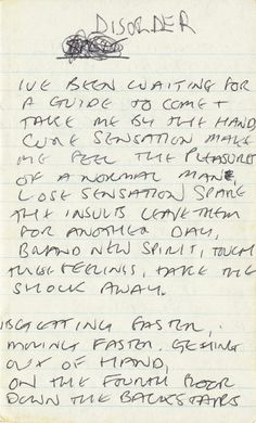 "Ian Curtis' handwritten lyrics to Joy Division's ""Disorder."" (Courtesy of Chronicle Books)"