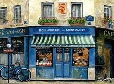 "Paris - France - ""Boulangerie de Montmartre"" - by Marilyn Dunlap (Paris Art) French Bakery, French Cafe, Vincent Gogh, French Paintings, Mary Cassatt, French Street, Montmartre Paris, Naive Art, Blue Art"