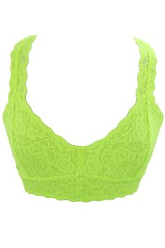 Sweet Sassy Lace Triangle Soft Bra with Mesh Lining Racerback Bralette Lace Top (S, Neon Yellow) -- You can obtain even more information by clicking on the photo. (This is an affiliate link).