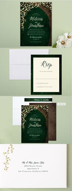 Set the theme for your outdoor wedding with a emerald toned wedding invitation suite.  Shop Outside Wedding Invitations by Rebecca Bowen at minted.com for your special day.