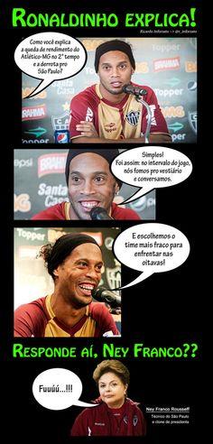 Charge: Ronaldinho Gaúcho explica razão da derrota do Galo no Morumbi ~> São Paulo 2x0 Atlético-MG (Libertadores 2013). 18/04/2013