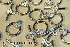 Toggle Clasp with Flower Silver-Plated Brass 14MM  by rlscreations (Craft Supplies & Tools, Jewelry & Beading Supplies, Findings & Hardware, toggle clasp, silver plate, silverplated, flower, bar and ring clasp, brass, closure, 14mm, 14 mm, component, jewelry making, findings, connector)