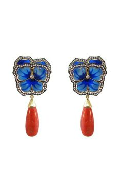 Silvia Furmanovich Enamel Pansy and Coral Earrings by lesa