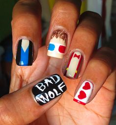 Dr. Who Nail Art, I can so do the bad wolf thing, haha its the easiest