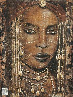 Fabienne-Arietti-Regard-peul-Afrika-Frau-Fertig-Bild-60x80-Wandbild